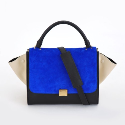 Celine-Trapeze-Clasp-Closure-Bag-Blue-Black